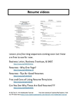 Resume How-To Video Links - FREE!!!