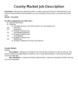 Resume Job Descriptions Assignment - Intro to Business Ch. 15