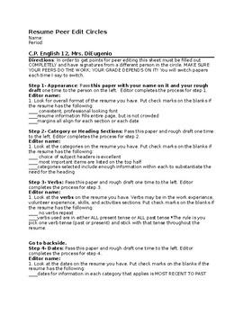 Resume Peer Edit Circles