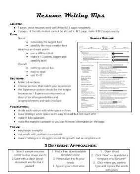 Resume Practice in Content Area: ELA, History, SS, Science