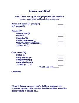 Resume Project Grade Sheet