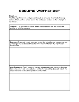 Resume Project Packet