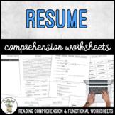Unit 3 Resume - Reading Comprehension & Functional Worksheets