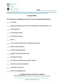 Resume Rubric Teaching Resources Teachers Pay Teachers