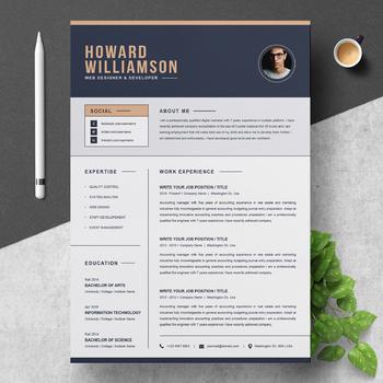 Resume Template Cv Cover Letter Web Designer And Developer Tpt