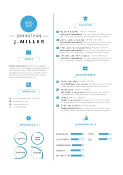 Resume Template Cool Blue  | MS Word Template (Docx)