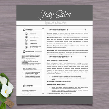 Resume Template + Cover Letter and References (Gray) - PowerPoint EDITABLE