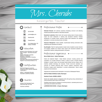 Resume Template + Cover Letter and References (Blue) - PowerPoint EDITABLE