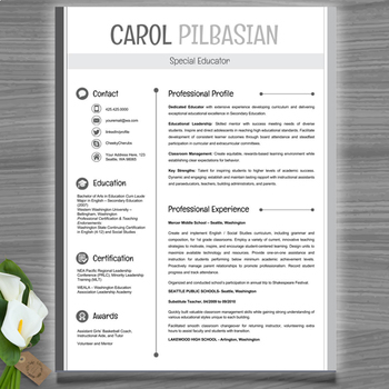 Teacher Resume Template Clean  Editable With Ms Powerpoint  Tpt