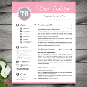 resume template cover letter and reference editable pink
