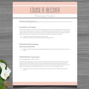 Resume Template + Cover and Reference Letter (Peach color) - PowerPoint EDITABLE