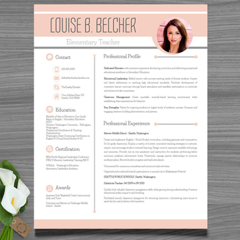 Resume Template Cover And Reference Letter Peach Color Powerpoint Editable