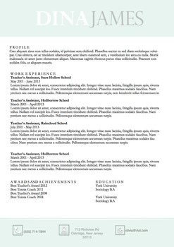 Resume Template Docx | Resume & Coverletter | Sea foam