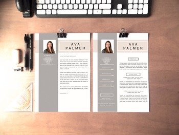 Resume Design Template | Resume , References, and Coverletter Set, Ava Palmer