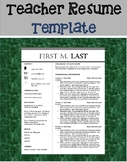 Teacher Resume Template EDITABLE (includes cover page and reference sheet)