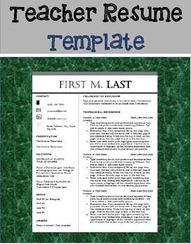 Teacher Resume Template Teaching Resources | Teachers Pay Teachers