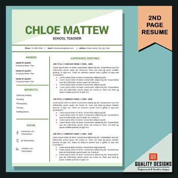 Resume Template Editable, Teaching Resume, Elementary Teacher Resume, CV