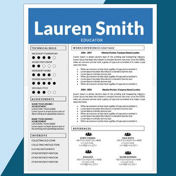Teacher Resume and Cover Letter Template, Editable Resume, Creative CV, Educator