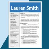 Teacher Resume and Cover Letter Template, Editable Resume,