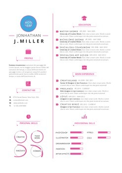 Resume Template Fresh Pink  | MS Word Template (Docx)