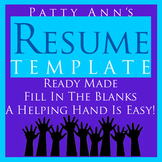 Resume Job & Career Readiness Generic Template: EDITABLE Doc. Fill It In & Apply