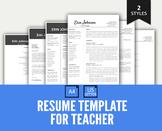 Resume Template Google Docs, Editable Resume for Teacher with Cover Letter