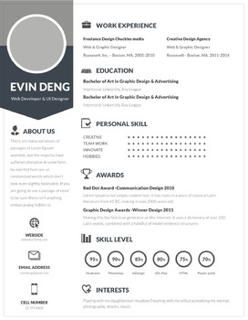 Resume Template | Grey & Blue  | MS Word Template