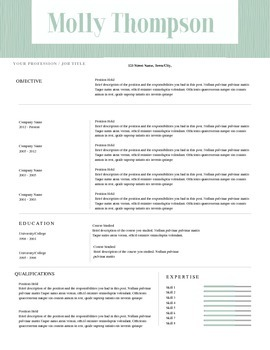 Resume Template MS Word | 8 Pack | Resume & Coverletter | Green Texture