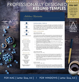 Resume Template, Navy Blue and Gold. Digital Resume, 1 pag