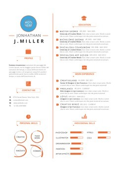 Resume Template Orange Splash  | MS Word Template (Docx)