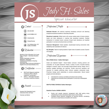 Resume Template  Teacher CV + Cover and Reference Letters (Red) MS PowerPoint