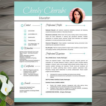Resume Template w/ Picture + Cover and Reference Letter -