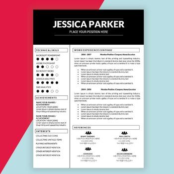 Editable Resume Template for Teachers MS Word DOCX, Educator Resume, Teaching CV