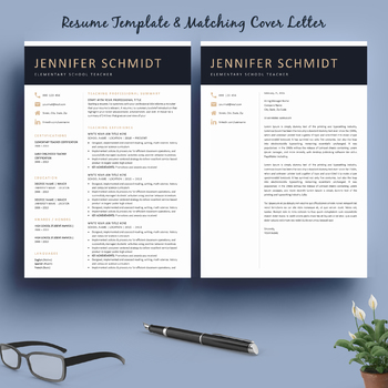 resume template and matching cover letter special bonus by
