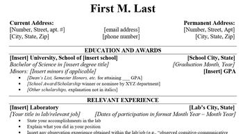 Resume Template For Grad Students Speech Language Pathology