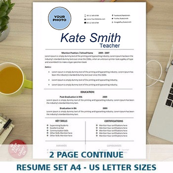 Resume Template for Teacher, FREE Cover Letter Template Includes, Photo Resume