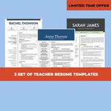 3 Resume Templates, Teacher Resume Bundle, Elementary CV Instant Download