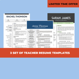 3 Resume Templates, Teacher Resume Bundle, Elementary CV I