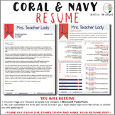 Teacher Resume Template - Elegant Coral and Navy
