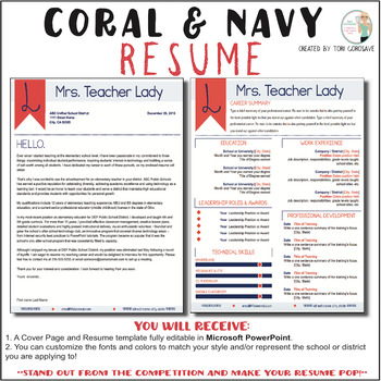 Teacher Resume Template Elegant Coral And Navy Tpt