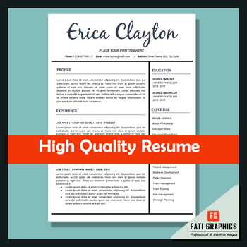 Resume Template for Teachers, MS Word Docx, CV Template, Instant Download