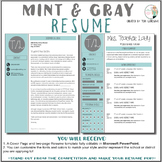 Teacher Resume Template - Mint and Gray