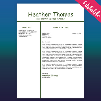 Teacher Resume Template Educator Resume Free Cv Word Template Green White