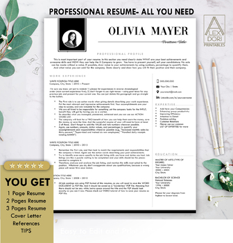 Resume Template in Black with Photo ALL-IN-ONE Template for Word Doc & Mac  Pages