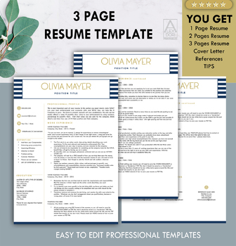 Resume Template in Blue Stripes ALL-IN-ONE Template for Word Doc & Mac Pages