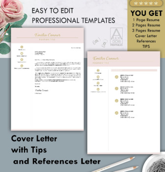 Resume Template in Blush Pink ALL-IN-ONE Template for Word Doc & Mac Pages