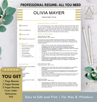 Resume Template in Gold & White ALL-IN-ONE Template for Word Doc & Mac Pages