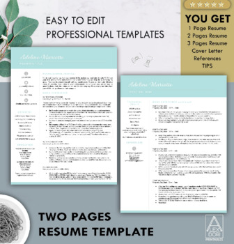 Resume Template in Mint ALL-IN-ONE Template for Word Doc & Mac Pages