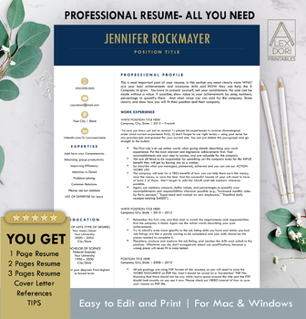 resume template in navy blue gold all in one template for word doc mac pages