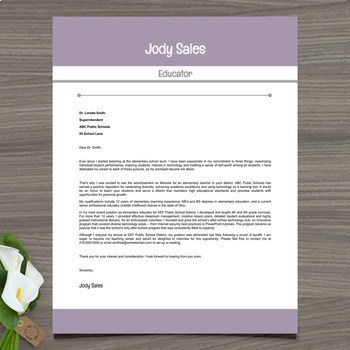 Resume Template + Cover and Reference Letter (Lavender) - PowerPoint EDITABLE